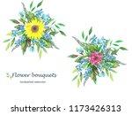 watercolor flower bouquets of... | Shutterstock . vector #1173426313