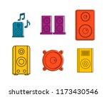speaker icon set. color outline ...   Shutterstock . vector #1173430546