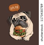 adorable beige puppy pug with a ... | Shutterstock .eps vector #1173430789
