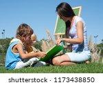 mathematics lesson on open air | Shutterstock . vector #1173438850
