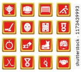 hockey icons set red square... | Shutterstock . vector #1173439993