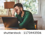young man having stressful time ... | Shutterstock . vector #1173443506