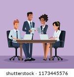 business coworkers cartoons | Shutterstock .eps vector #1173445576