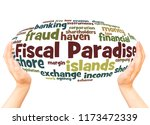 fiscal paradise word cloud hand ... | Shutterstock . vector #1173472339