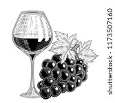 grapes and glass with grap wine. | Shutterstock .eps vector #1173507160