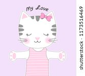 cute cartoon cat with a bow and ... | Shutterstock .eps vector #1173516469