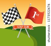 golf sport club with flags | Shutterstock .eps vector #1173522676