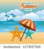 summer enjoy with umbrella beach | Shutterstock .eps vector #1173527320