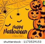 happy halloween card with... | Shutterstock .eps vector #1173529153