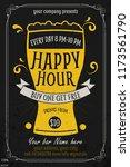 happy hour offer flyer template.... | Shutterstock .eps vector #1173561790