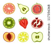 isolated hand drawn cut fruits | Shutterstock .eps vector #117356368
