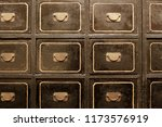 shabby boxes of vintage filing... | Shutterstock . vector #1173576919