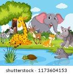 wild animals living next to...   Shutterstock .eps vector #1173604153