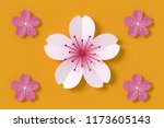 beautiful sakura on yellow... | Shutterstock . vector #1173605143