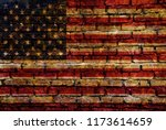 usa flag bricks wall | Shutterstock . vector #1173614659