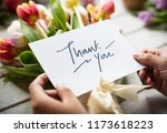Thank You Card With Bouquet Of...