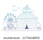 degraded line funny circus with ... | Shutterstock .eps vector #1173618853