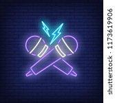 rap battle neon icon. crossed... | Shutterstock .eps vector #1173619906