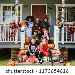 little children in halloween... | Shutterstock . vector #1173654616