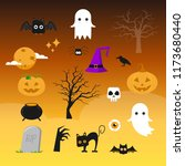 vector set of characters and... | Shutterstock .eps vector #1173680440