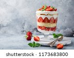 strawberry trifle. layered... | Shutterstock . vector #1173683800