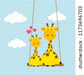 Stock vector cute giraffes sitting together on a swing with blue sky and white clouds in the background 1173696703