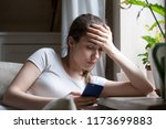 disappointed girl upset get... | Shutterstock . vector #1173699883