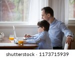 cute little boy copy dad... | Shutterstock . vector #1173715939