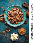 cocoa beans  cocoa powder and... | Shutterstock . vector #1173719893