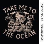 skull captain and sailor style... | Shutterstock .eps vector #1173730159