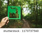 hand holding eco friendly green ... | Shutterstock . vector #1173737560