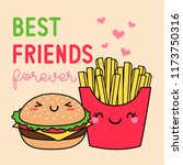 cute french fries and hamburger ... | Shutterstock .eps vector #1173750316