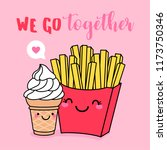 cute french fries and ice cream ... | Shutterstock .eps vector #1173750346