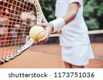 sporty little girl preparing to ... | Shutterstock . vector #1173751036