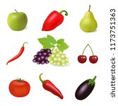 fruits  berries and vegetables... | Shutterstock .eps vector #1173751363