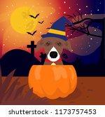 halloween suprise dog in the... | Shutterstock .eps vector #1173757453