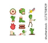 zombie icon set. pixel art. old ... | Shutterstock .eps vector #1173758929