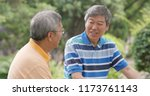 asian male old friends talking... | Shutterstock . vector #1173761143