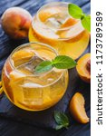 ripe peaches cocktail with ice... | Shutterstock . vector #1173789589