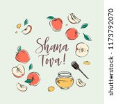happy rosh hashanah hand drawn... | Shutterstock .eps vector #1173792070