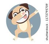 pug doing dabbing smile face  | Shutterstock .eps vector #1173795709
