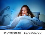 Small photo of Sleepless girl in her bed having fears of night monsters
