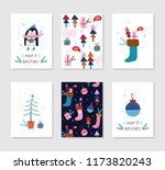 collection of 6 christmas card... | Shutterstock .eps vector #1173820243