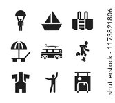 recreation icon. 9 recreation... | Shutterstock .eps vector #1173821806