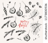 hand drawn ink christmas and... | Shutterstock .eps vector #1173830536