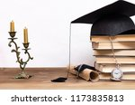 stack of books  graduate cap ... | Shutterstock . vector #1173835813