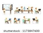 school children at the... | Shutterstock .eps vector #1173847600