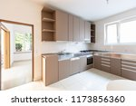 large kitchen with bright...   Shutterstock . vector #1173856360