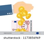 hand tosses coins near 10 euro... | Shutterstock .eps vector #1173856969