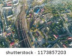 junction railway station with...   Shutterstock . vector #1173857203